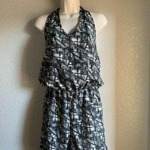 Women's Aly Rose Romper Halter Top, Black & White